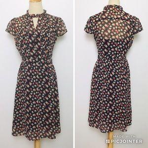 ModCloth Black Floral Mini dress Sz Small
